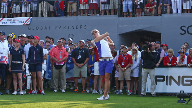 Jodi Ewart Shadoff during Friday Morning Foursome Matches at the Solheim Cup