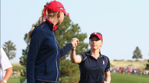 Jessica Korda and Morgan Pressel during Friday Morning Foursome Matches at the Solheim Cup