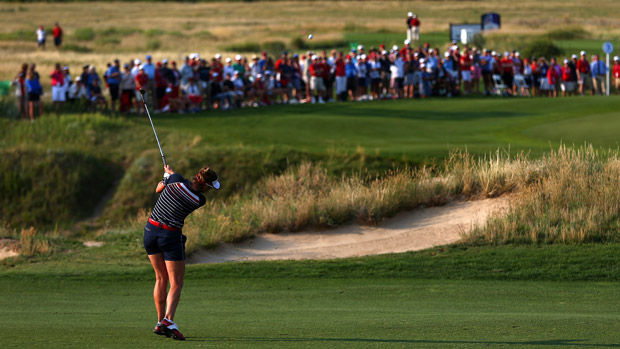 Brittany Lang during Friday Morning Foursome Matches at the Solheim Cup