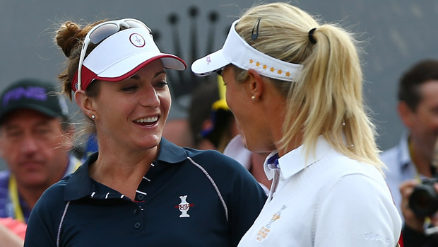 Brittany Lang and Suzann Pettersen during Friday Morning Foursome Matches at the Solheim Cup