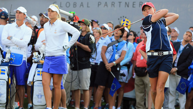 Stacy Lewis during Friday Morning Foursome Matches at the Solheim Cup