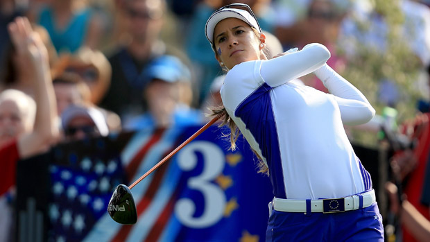 Azahara Munoz during Friday Morning Foursome Matches at the Solheim Cup