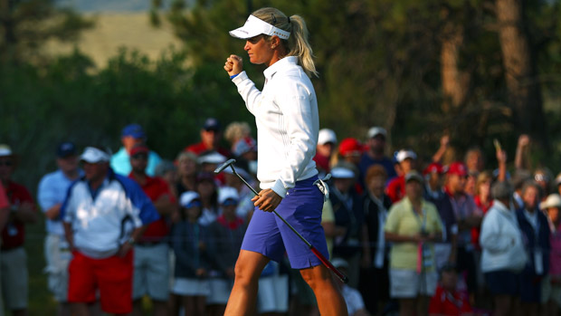 Suzann Pettersen during Friday Morning Foursome Matches at the Solheim Cup