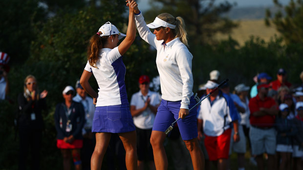 Suzann Pettersen and Beatriz Recari during Friday Morning Foursome Matches at the Solheim Cup