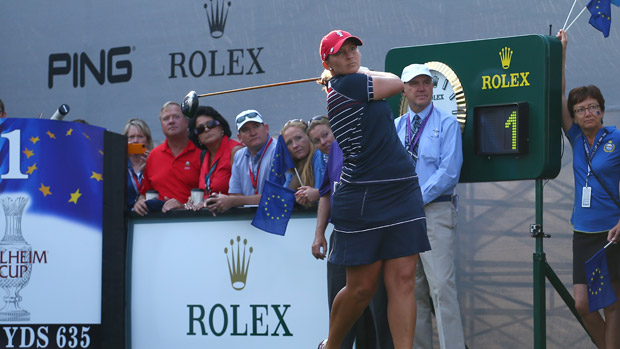 Angela Stanford during Friday Morning Foursomes Matches at the Solheim Cup