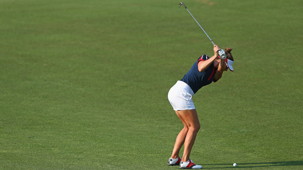 Brittany Lang during the afternoon four-ball matches at the Solheim Cup