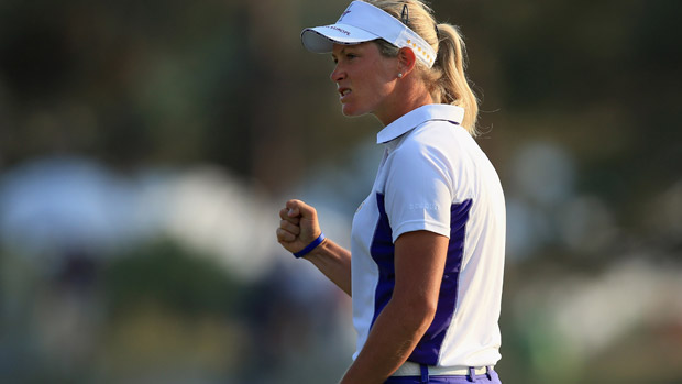 Suzann Pettersen during the afternoon fourball matches for the Solheim Cup