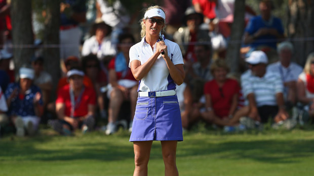 Giulia Sergas during the afternoon four-ball matches at the Solheim Cup
