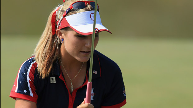 Lexi Thompson during the afternoon four-ball matches at the Solheim Cup
