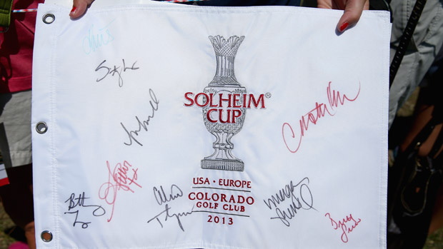Fan Autographed Flag during the third day of practice at the Solheim Cup