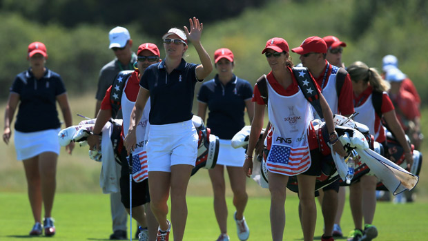 Brittany Lang during the third day of practice at the Solheim Cup