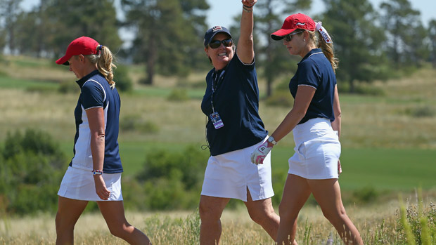 Stacy Lewis, Meg Mallon and Paula Creamer during the third day of practice at the Solheim Cup