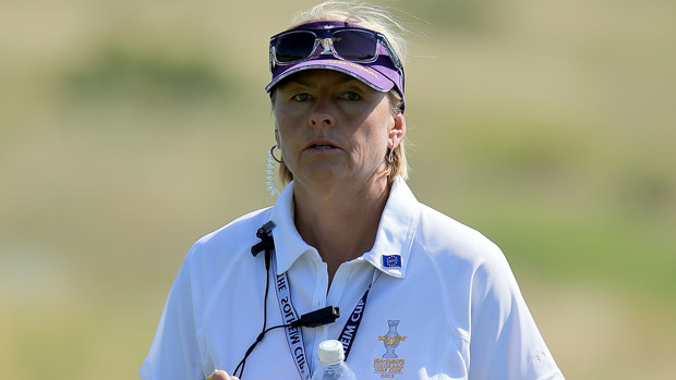 Liselotte Neumann during the third day of practice at the Solheim Cup