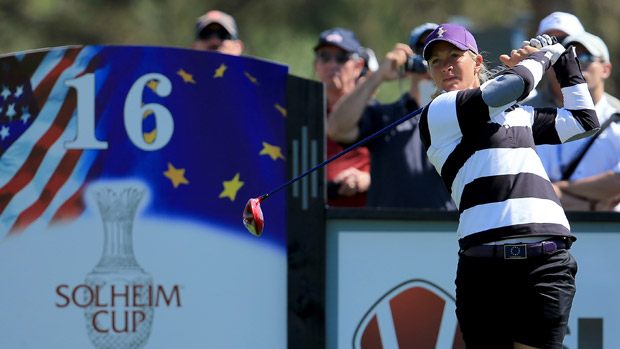 Suzann Pettersen during the third day of practice at the Solheim Cup
