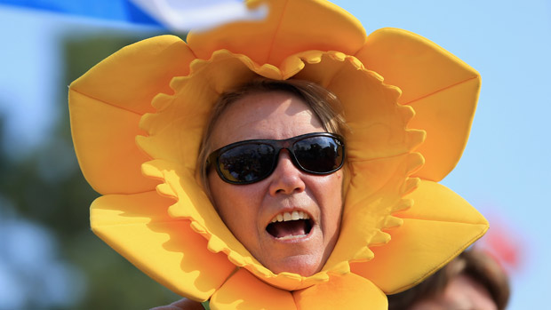 A Fan Supports the European Team during the Opening Ceremony of the 2013 Solheim Cup