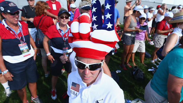 A fan of USA Solhiem Cup Team during the Opening Ceremony of the 2013 Solheim Cup