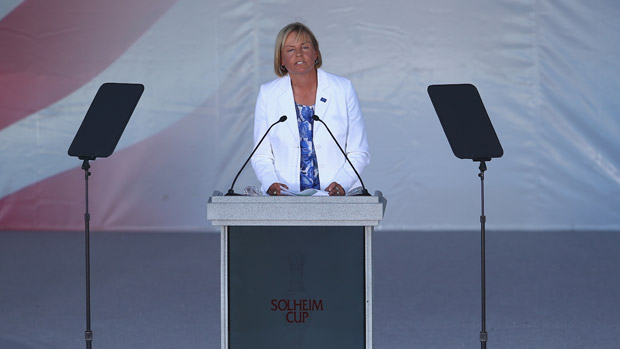 Liselotte Neumann during the Opening Ceremony of the 2013 Solheim Cup