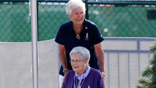 Kathy Whitworth and Louise Solheim during the Opening Ceremony of the 2013 Solheim Cup