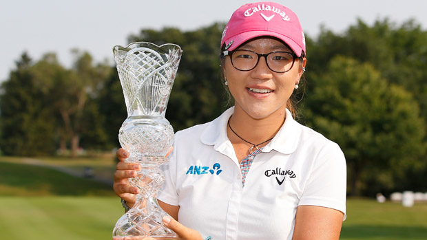 Lydia Ko holds the trophy after winning the Marathon Classic Presented by Owens Corning and O-I