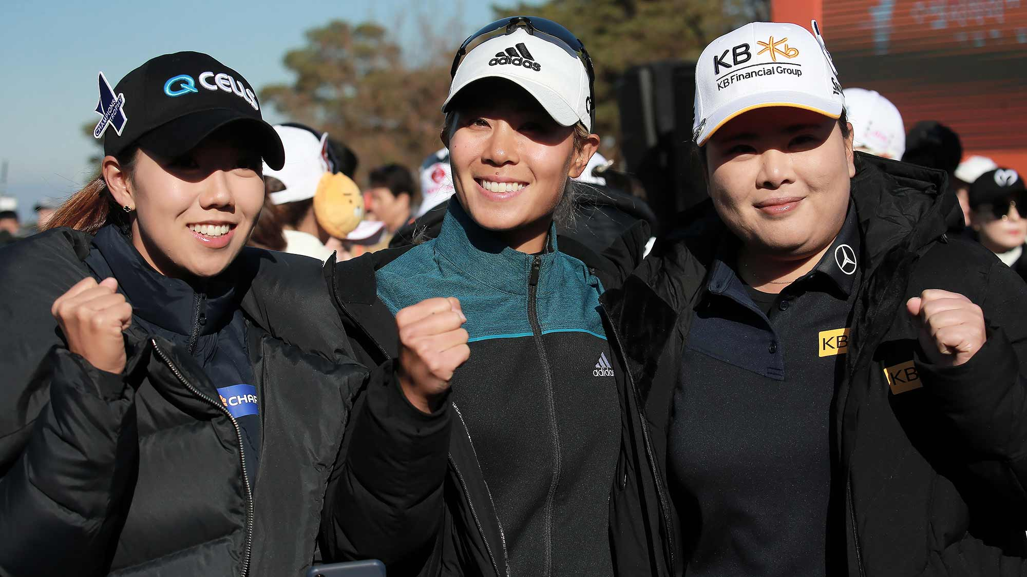 Jenny Shin, Danielle Kang and Inbee Park pose for a photo during the Orange Life Champions Trophy Inbee Park Invitational at Blue One The Honors Country Club in Gyeongju, Republic of Korea