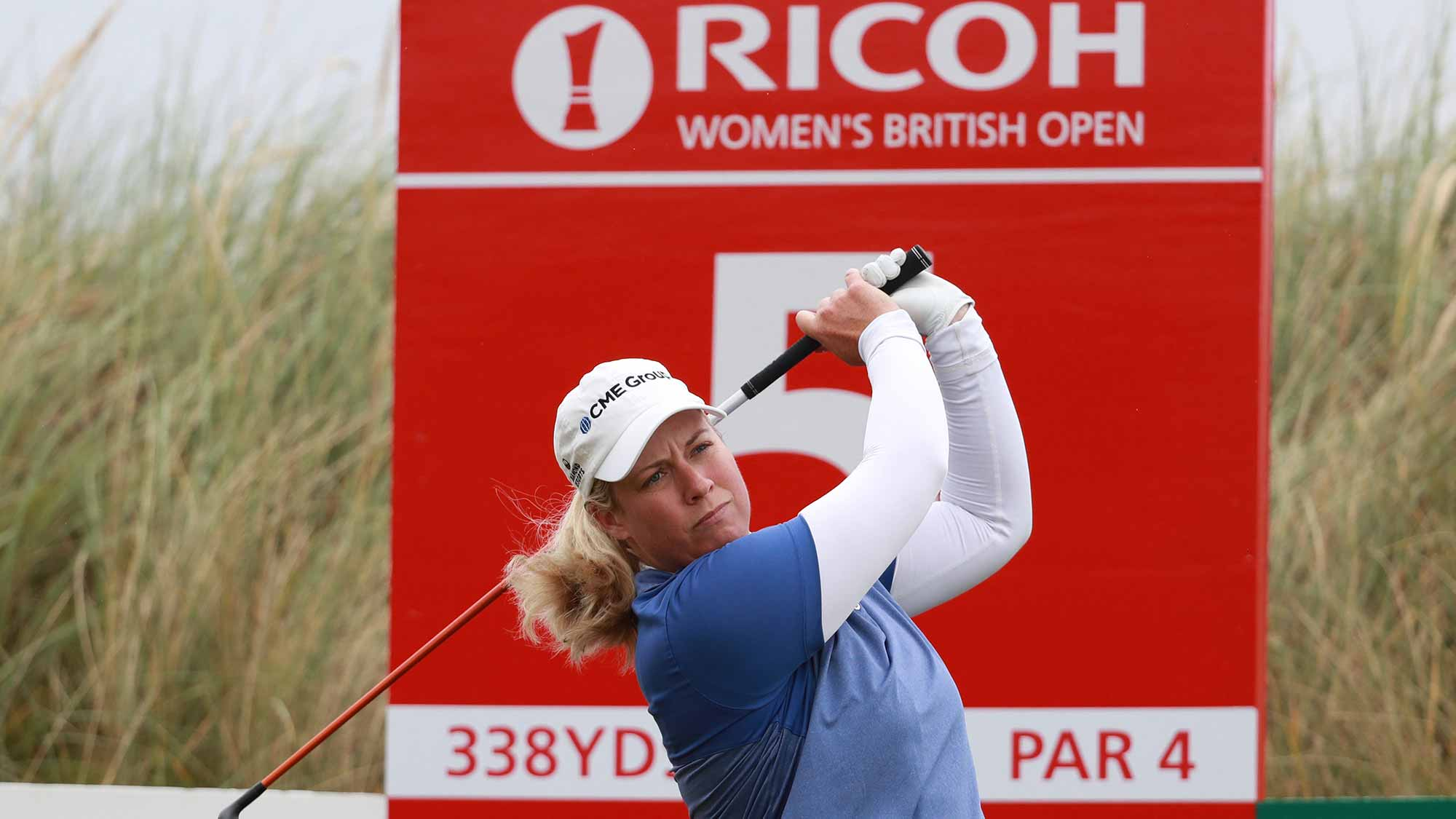 Brittany Lincicome of the United States tees off on the 5th hole during a pro-am round prior to the Ricoh Women's British Open at Kingsbarns Golf Links