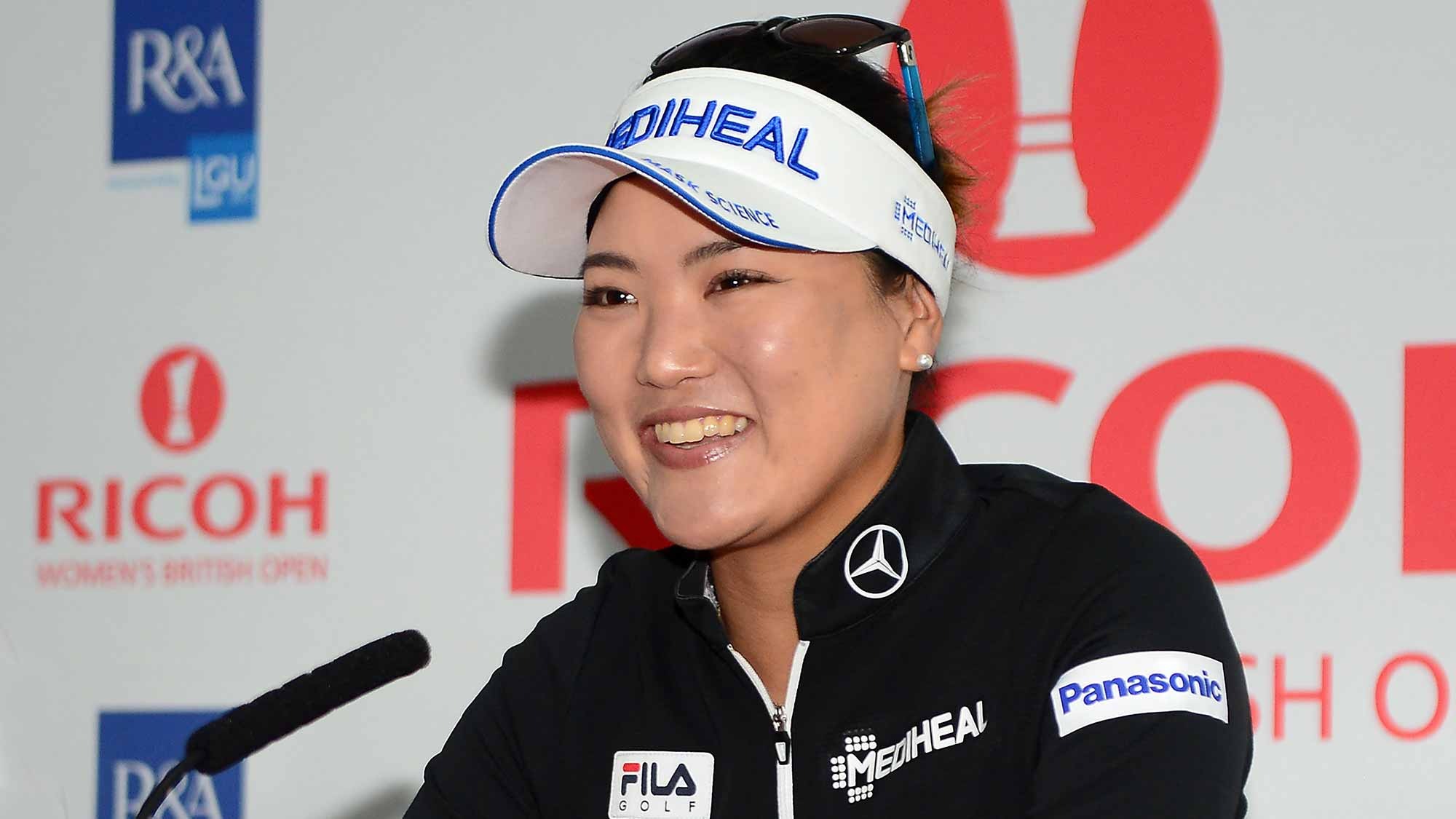 So Yeon Ryu of Korea answers questions from the media at a press conference during a practice round prior to the Ricoh Women's British Open at Kingsbarns Golf Links