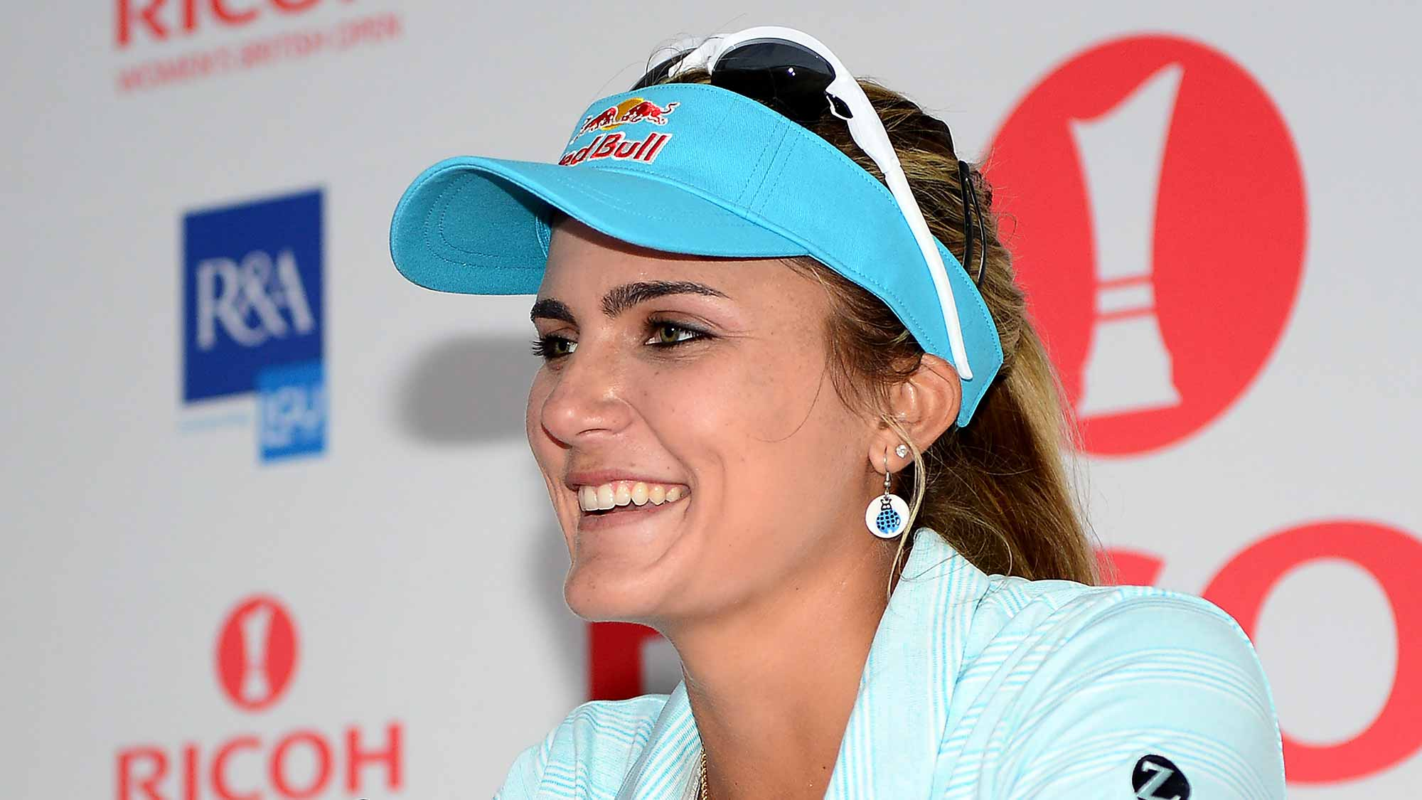 Lexi Thompson of the United States answers questions from the media at a press conference during a practice round prior to the Ricoh Women's British Open at Kingsbarns Golf Links