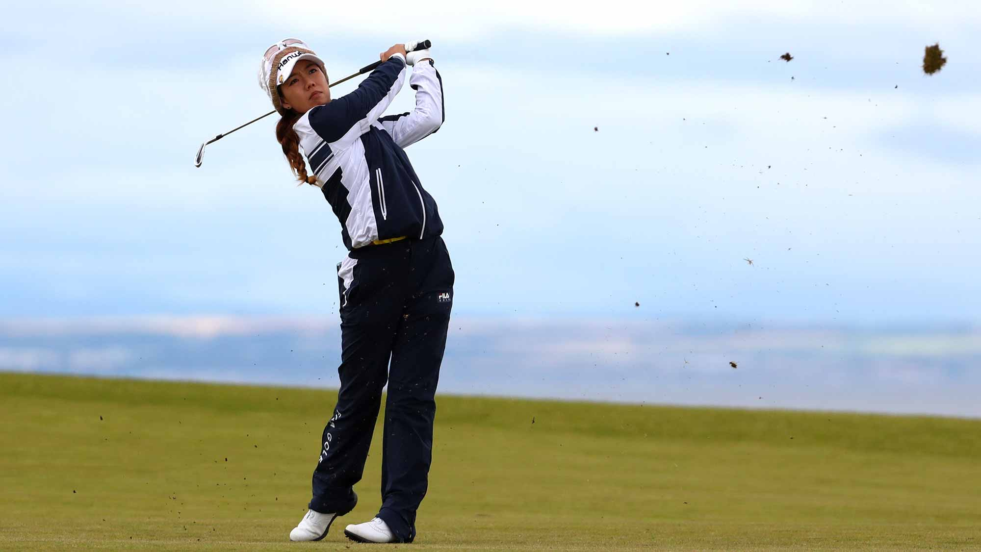 enny Shin of Korea hits her second shot on the 4th hole during the second round of the Ricoh Women's British Open at Kingsbarns Golf Links