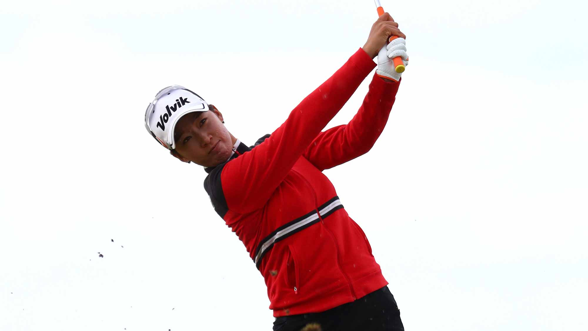 Chella Choi of Korea hits her second shot on the 4th hole during the third round of the Ricoh Women's British Open at Kingsbarns Golf Links
