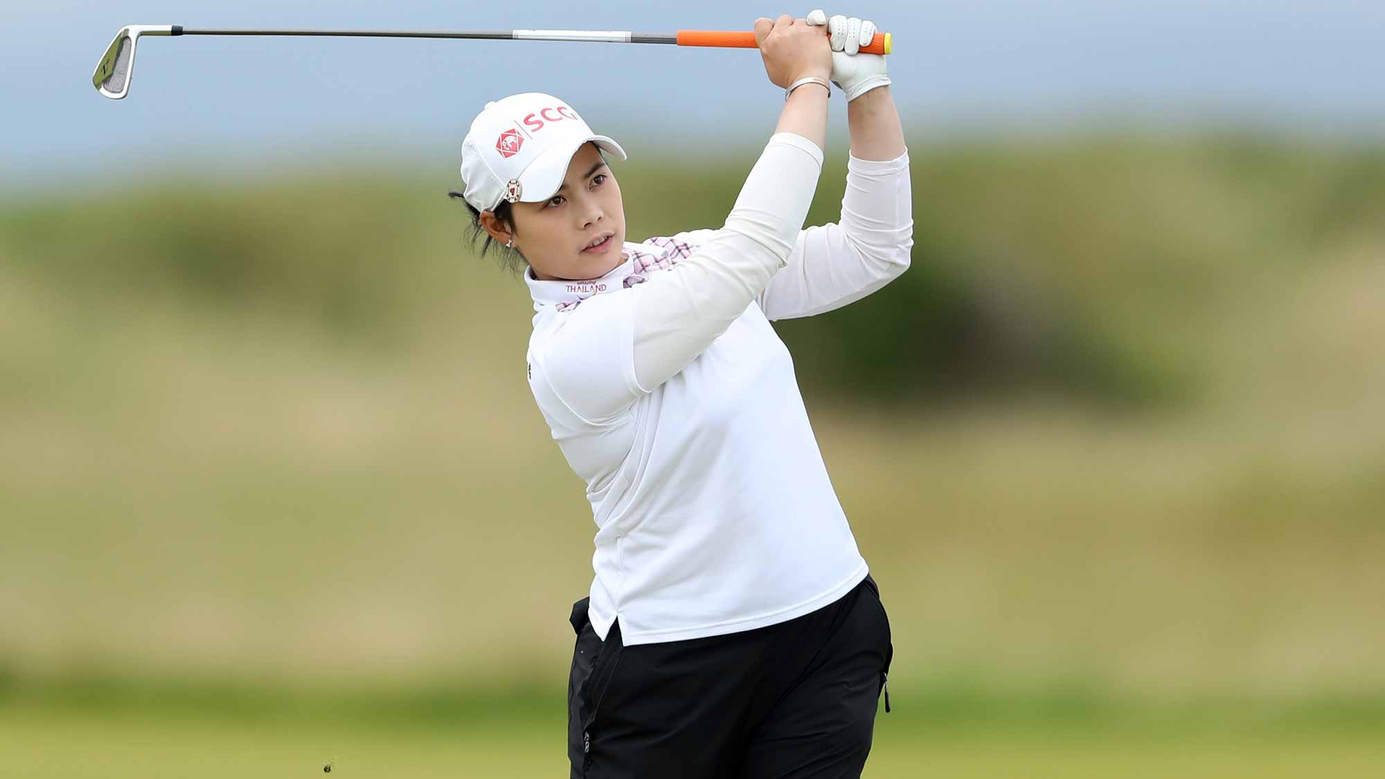 Moriya Jutanugarn of Thailand hits her second shot on the 3rd hole during the final round of the Ricoh Women's British Open at Kingsbarns Golf Links