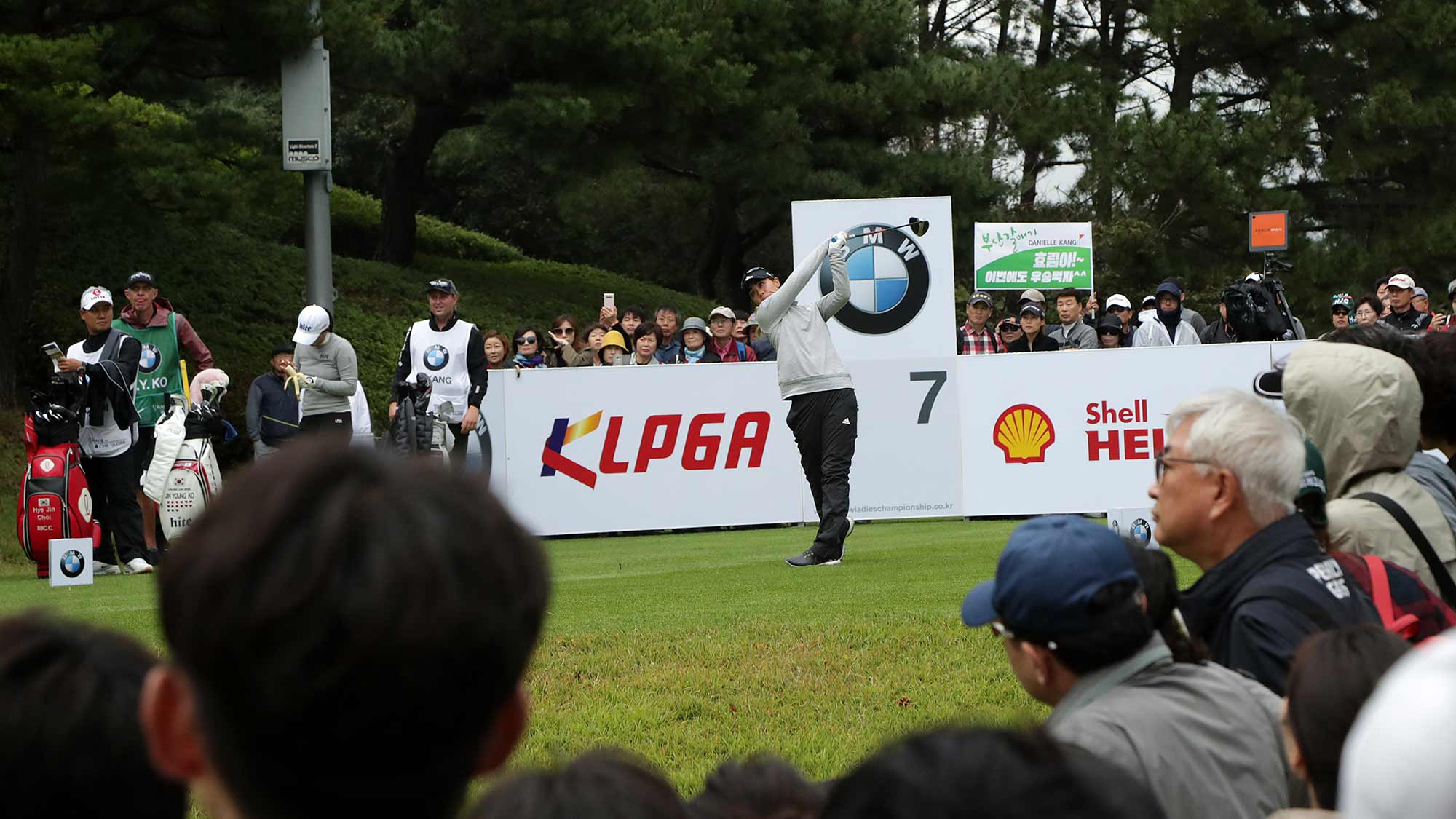 Danielle Kang of USA drives from a tee on the seven hole during Round 1 of 2019 BMW Ladies Championship at LPGA International Busan at on October 24, 2019 in Busan, Republic of Korea