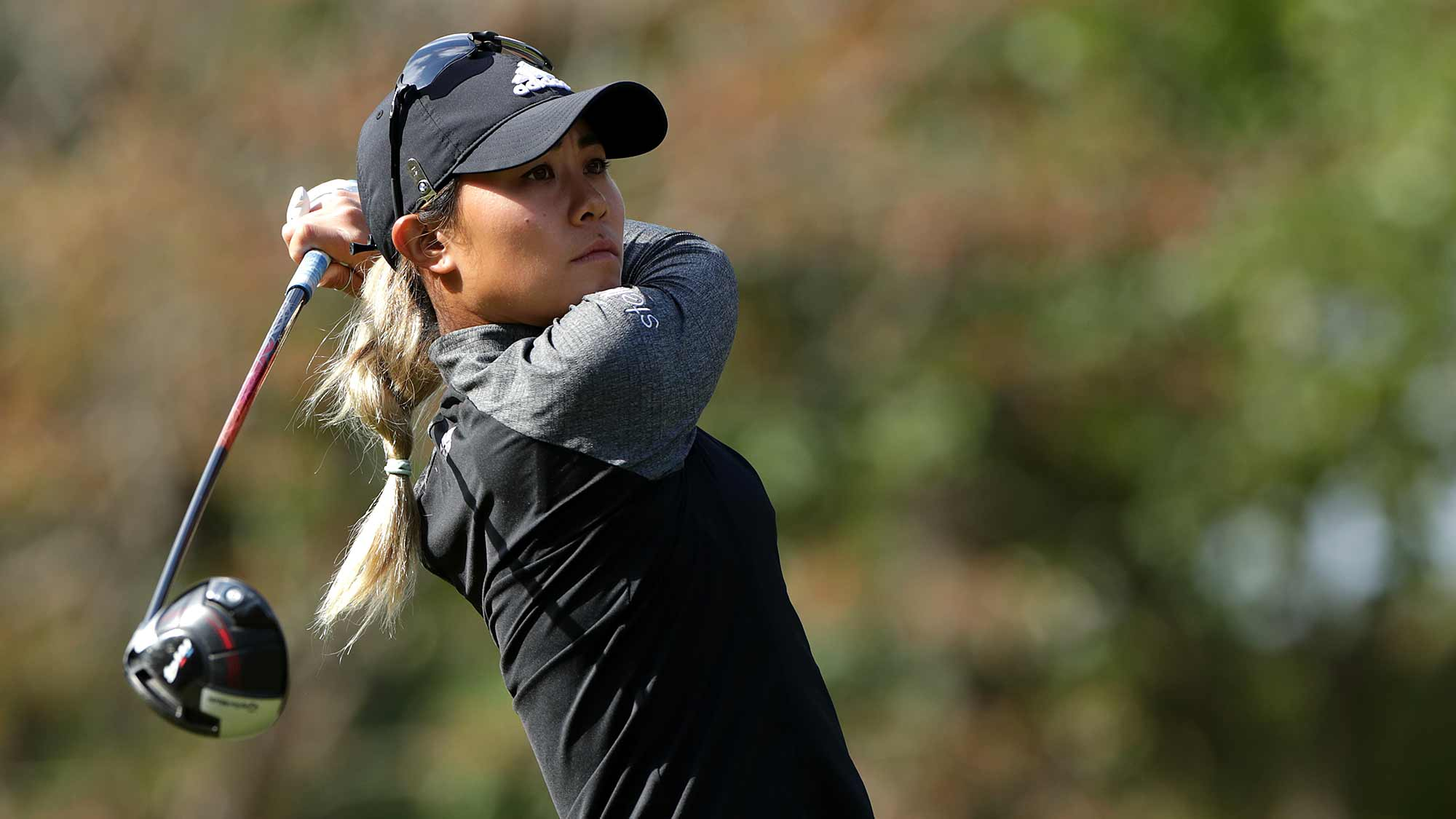 Danielle Kang of USA drives from a tee on the second hole during Round 2 of 2019 BMW Ladies Championship at LPGA International Busan on October 25, 2019 in Busan, Republic of Korea