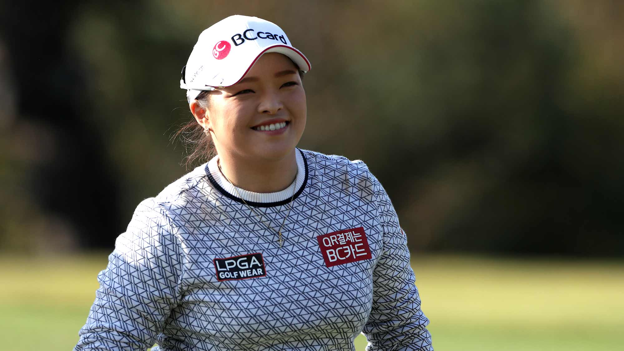 Ha Na Jang of Republic of Korea smiles to the gallery on the seventeenth hole during Round 3 of 2019 BMW Ladies Championship at LPGA International Busan on October 26, 2019 in Busan, Republic of Korea