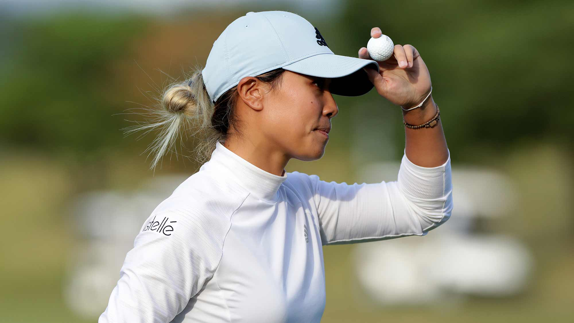 Danielle Kang of USA acknowledges the gallery on the eighteenth hole during Round 3 of 2019 BMW Ladies Championship at LPGA International Busan on October 26, 2019 in Busan, Republic of Korea