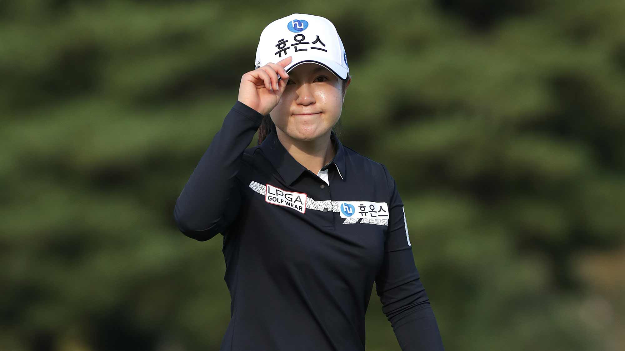 Seung Yeon Lee of Republic of Korea acknowledges the gallery on the eighteenth hole during Round 3 of 2019 BMW Ladies Championship at LPGA International Busan on October 26, 2019 in Busan, Republic of Korea