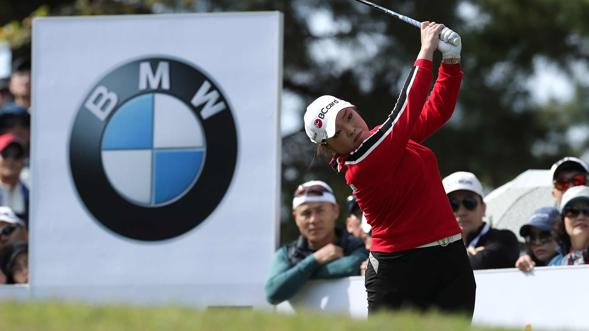 Ha Na Jang of Republic of Korea drives from a tee on the fifth hole during the final Round of 2019 BMW Ladies Championship at LPGA International Busan on October 27, 2019 in Busan, Republic of Korea