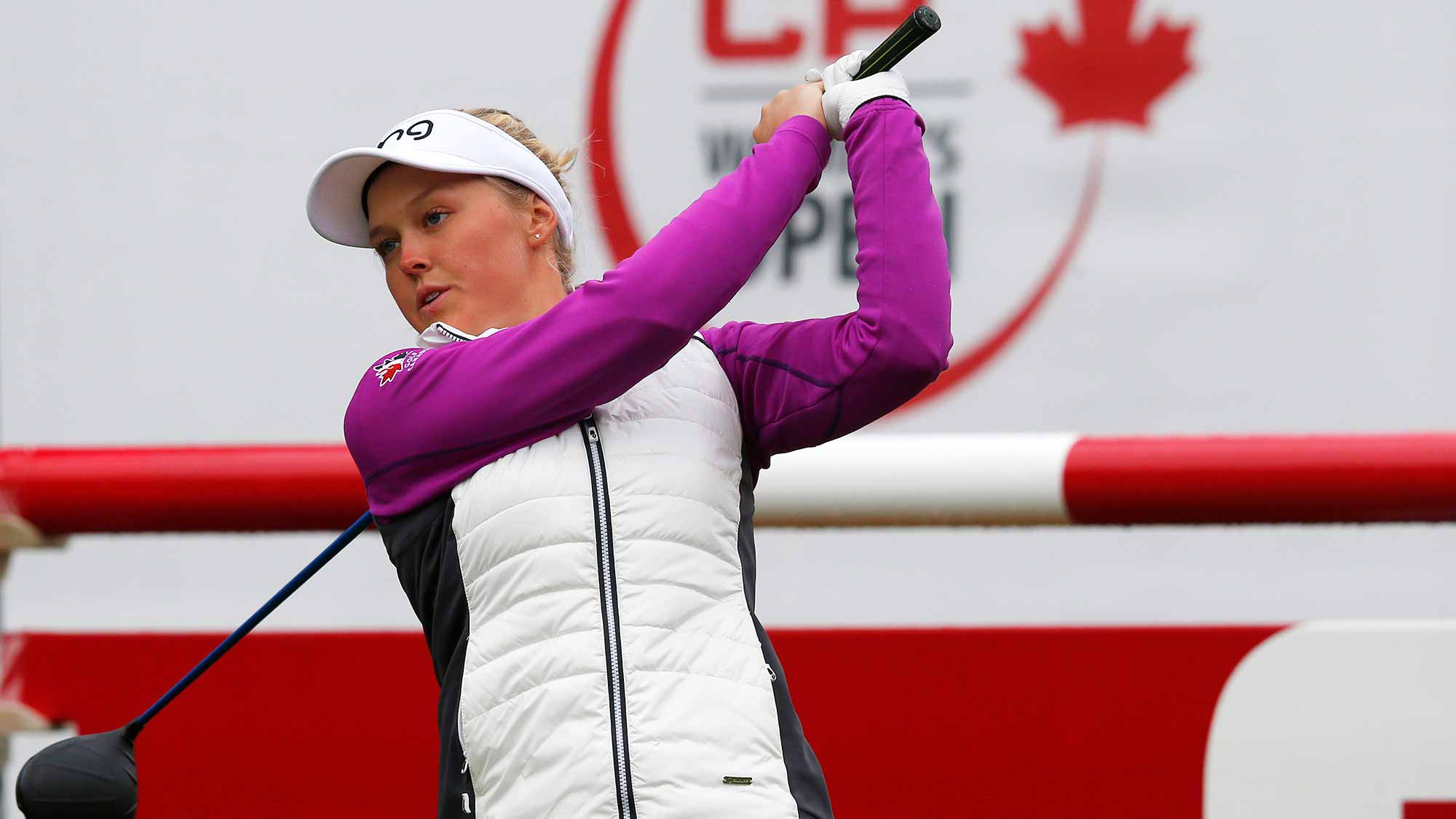 Brooke Henderson of Canada warms up before starting her final round of the Canadian Pacific Women's Open at Priddis Greens Golf and Country Club