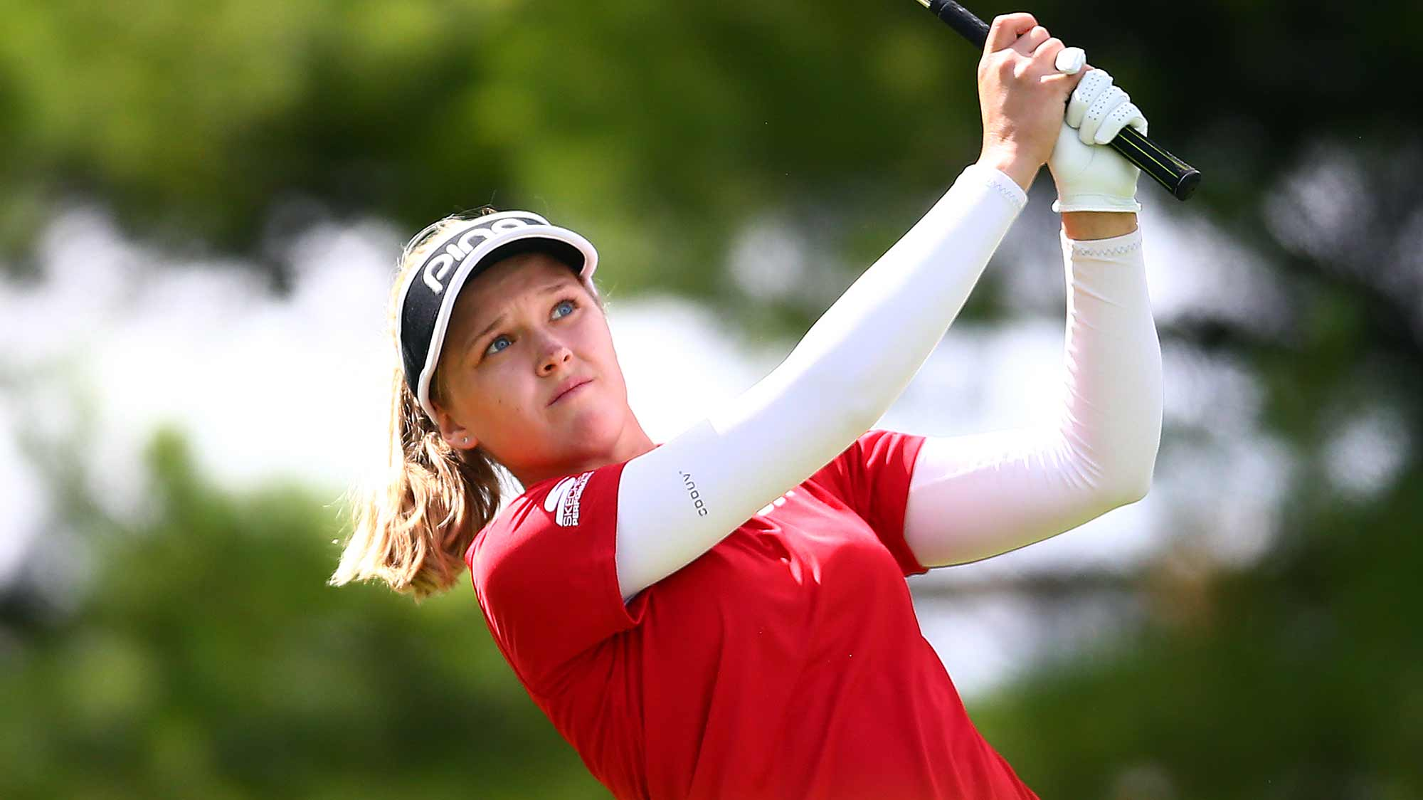 Brooke Henderson of Canada hits her tee shot on the 2nd hole during the final round of the CP Women's Open at Magna Golf Club on August 25, 2019 in Aurora, Canada