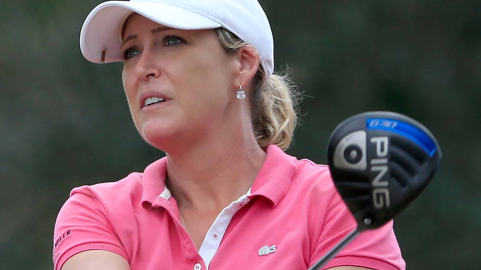 Cristie Kerr of the United States plays a shot on the 13th hole during the third round of the CME Group Tour Championship at Tiburon Golf Club