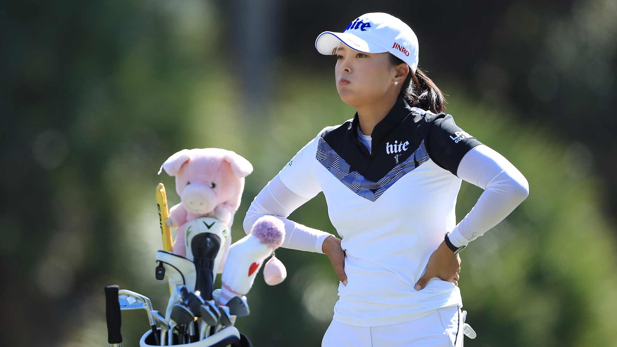 Jin Young Ko of Korea looks on after playing her shot from the third tee during the first round of the CME Group Tour Championship at Tiburon Golf Club on November 21, 2019 in Naples, Florida