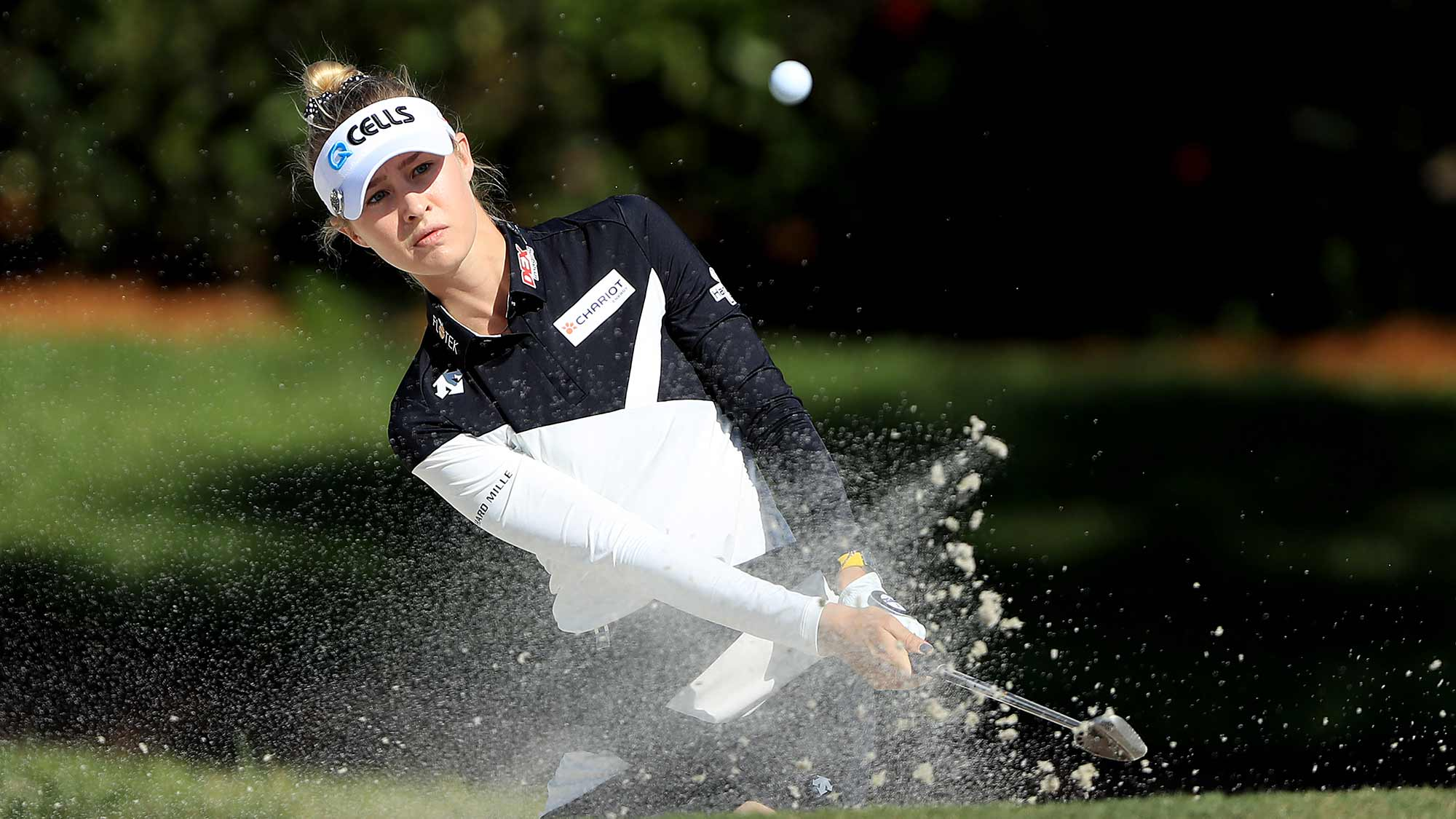 Nelly Korda of the United States plays a shot from a bunker on the sixth hole during the first round of the CME Group Tour Championship at Tiburon Golf Club on November 21, 2019 in Naples, Florida