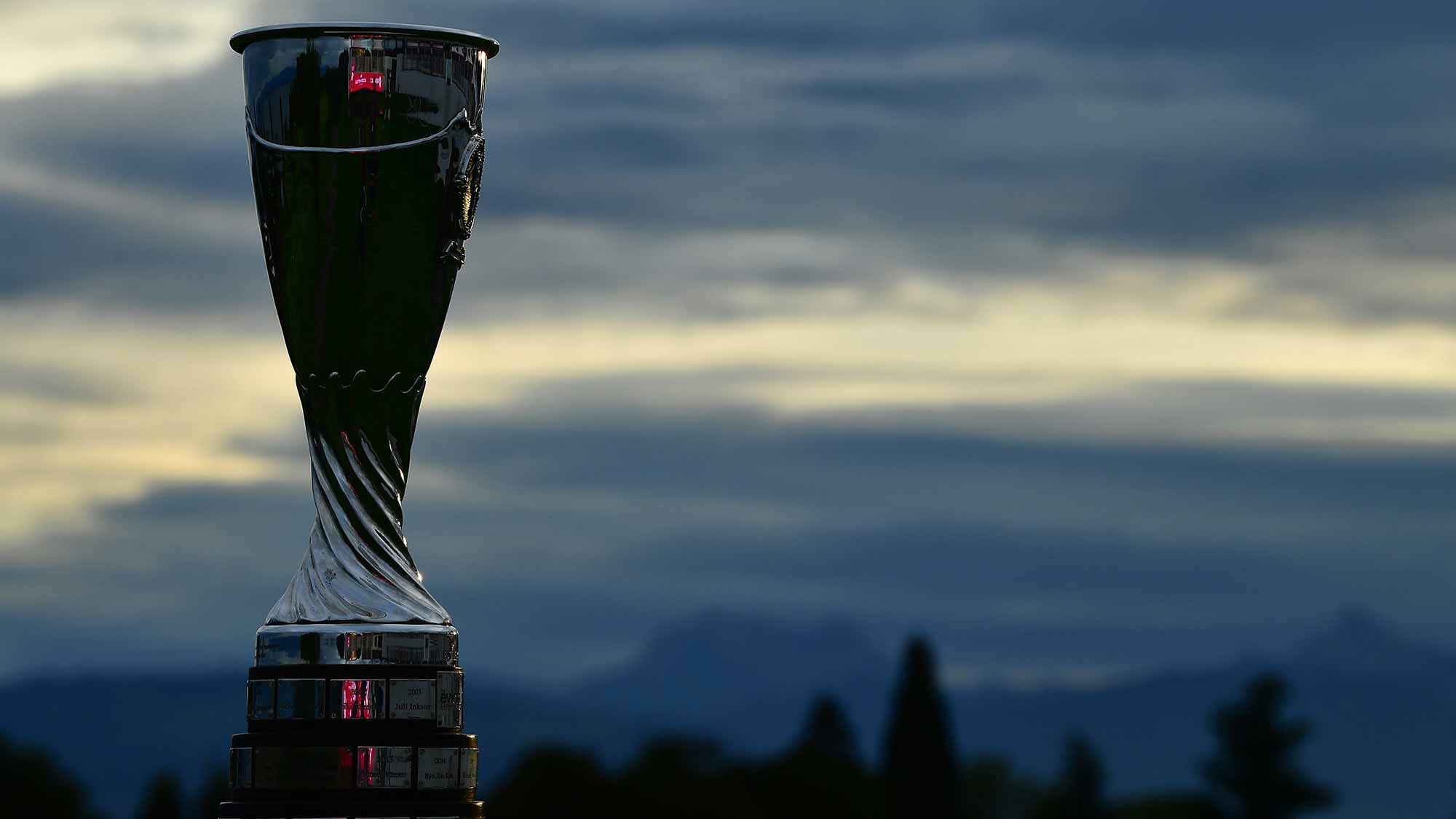 The winners trophy is seen during the pro - am prior to the start of The Evian Championship at Evian Resort Golf Club