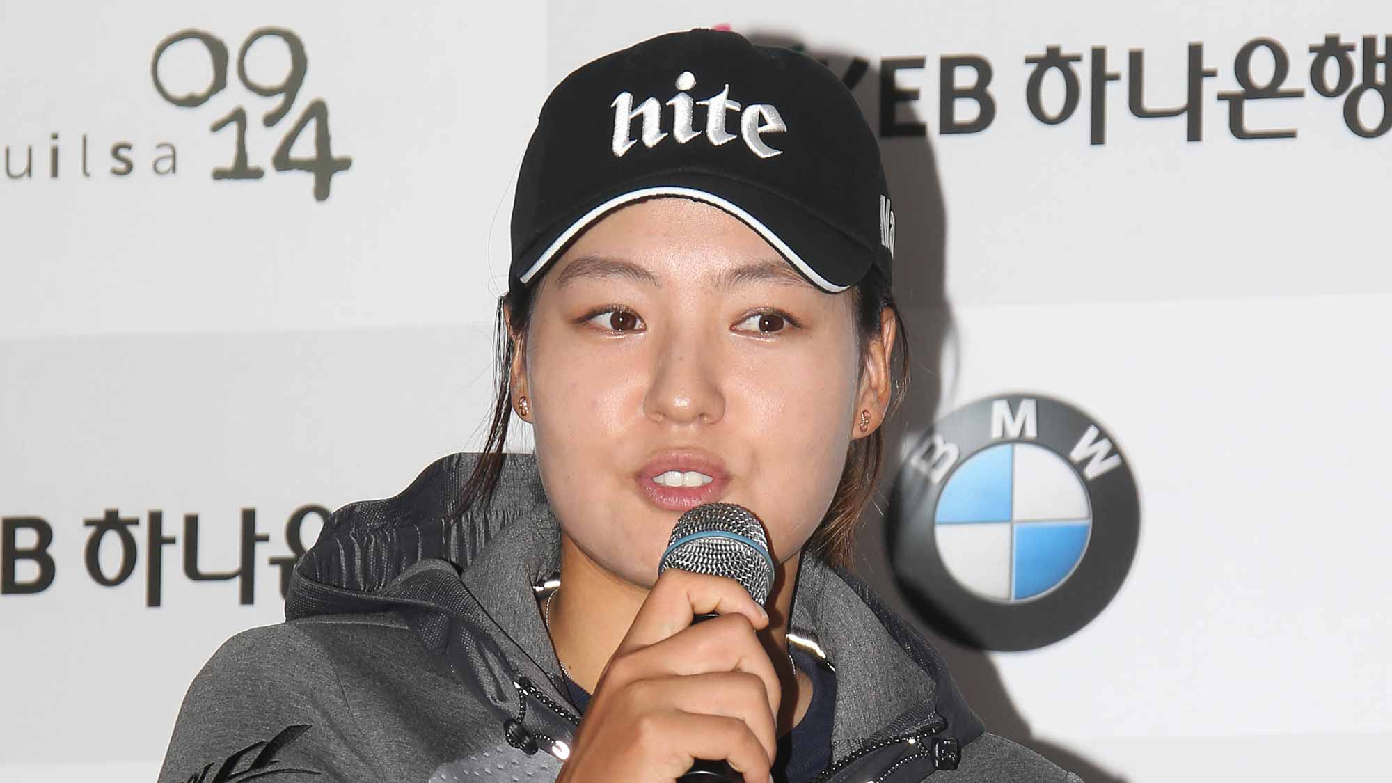 In Gee Chun Addresses The Media During A Pre-Tournament Press Conference at LPGA KEB Hana Bank Championship