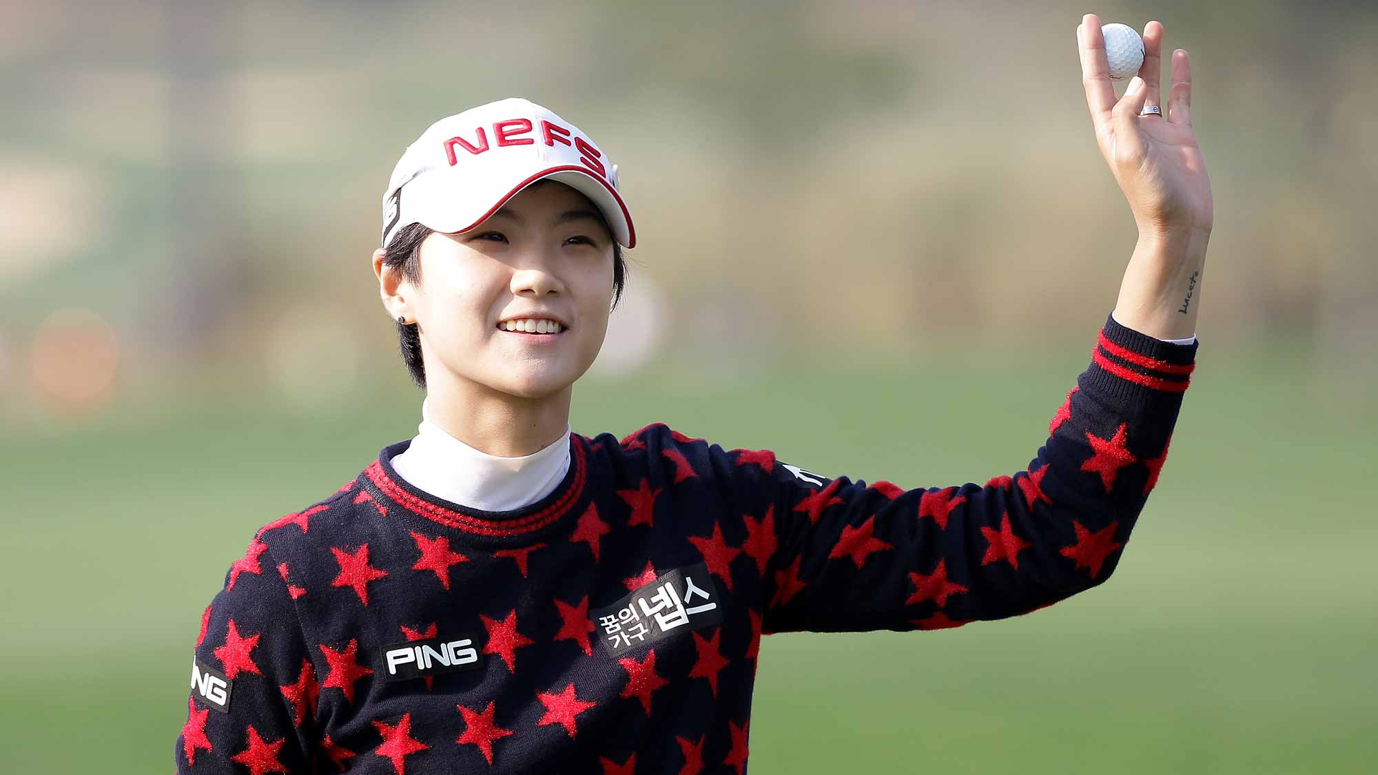 Sung Hyun Park of South Korea reacts after a birdie putt on the 18th hole during the first round of LPGA KEB Hana Bank Championship at Sky 72 Golf Club Ocean Course