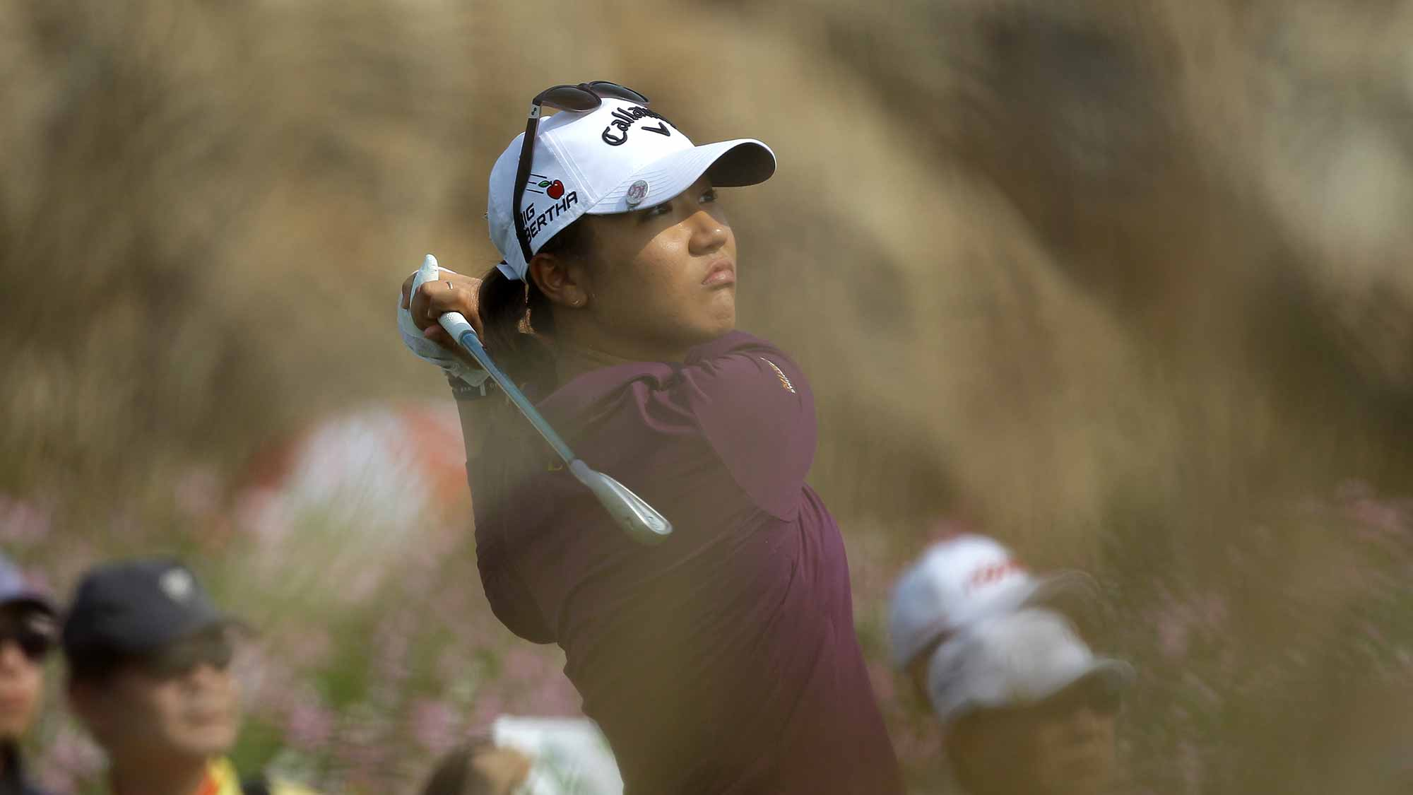 Lydia Ko of New Zealand plays a tee shot on the 3rd hole during round two of the LPGA KEB Hana Bank Championship
