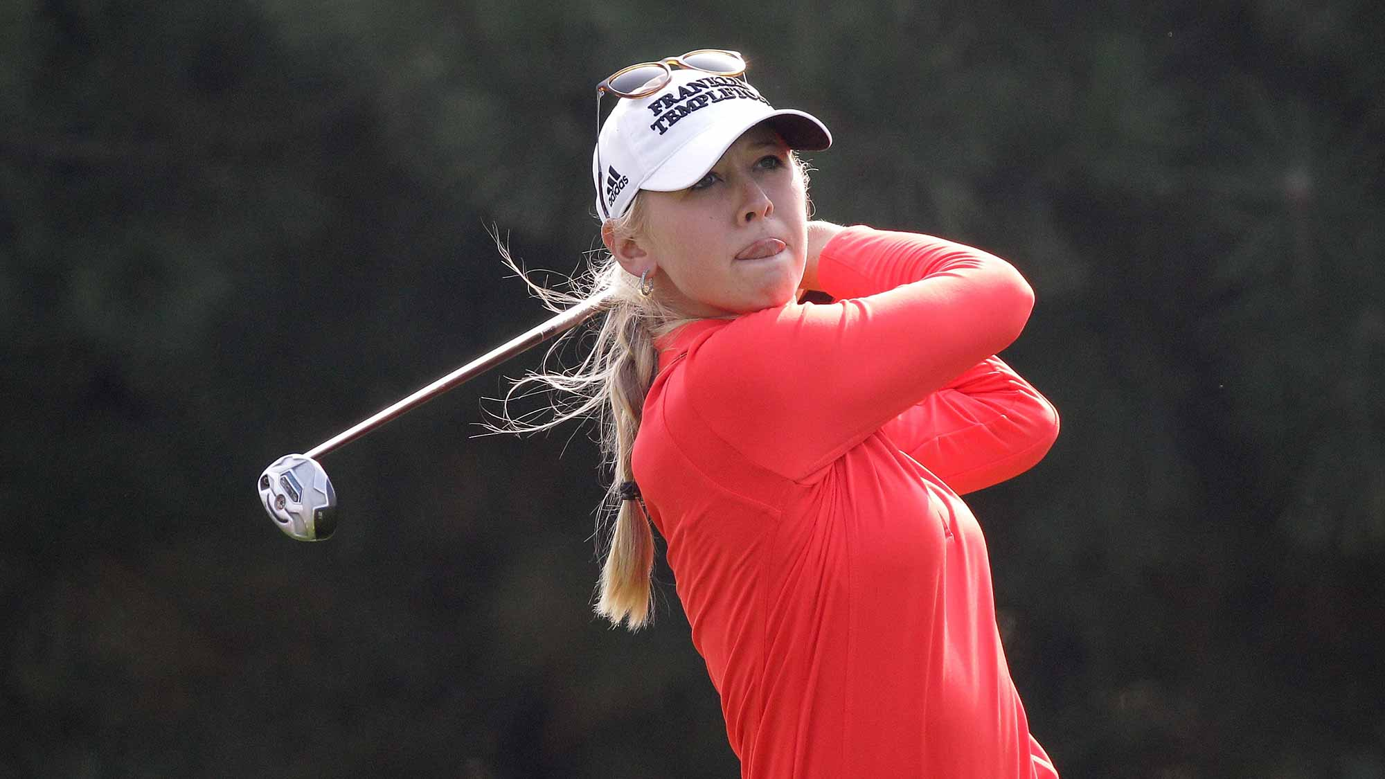 Jessica Korda of United States plays a tee shot on the 4th hole during round two of the LPGA KEB Hana Bank Championship