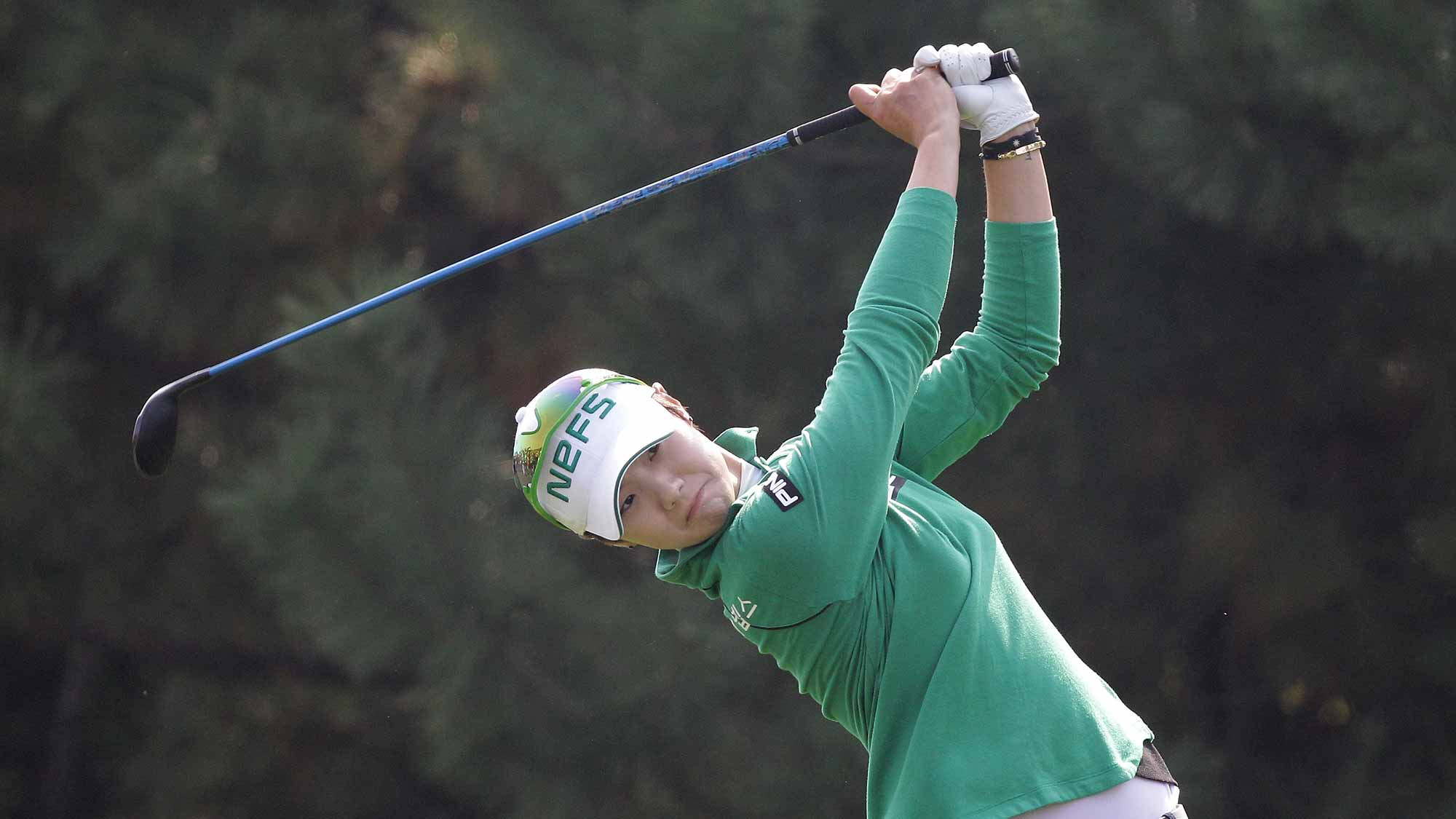 Sung Hyun Park of South Korea plays a tee shot on the 4th hole during round two of the LPGA KEB Hana Bank Championship