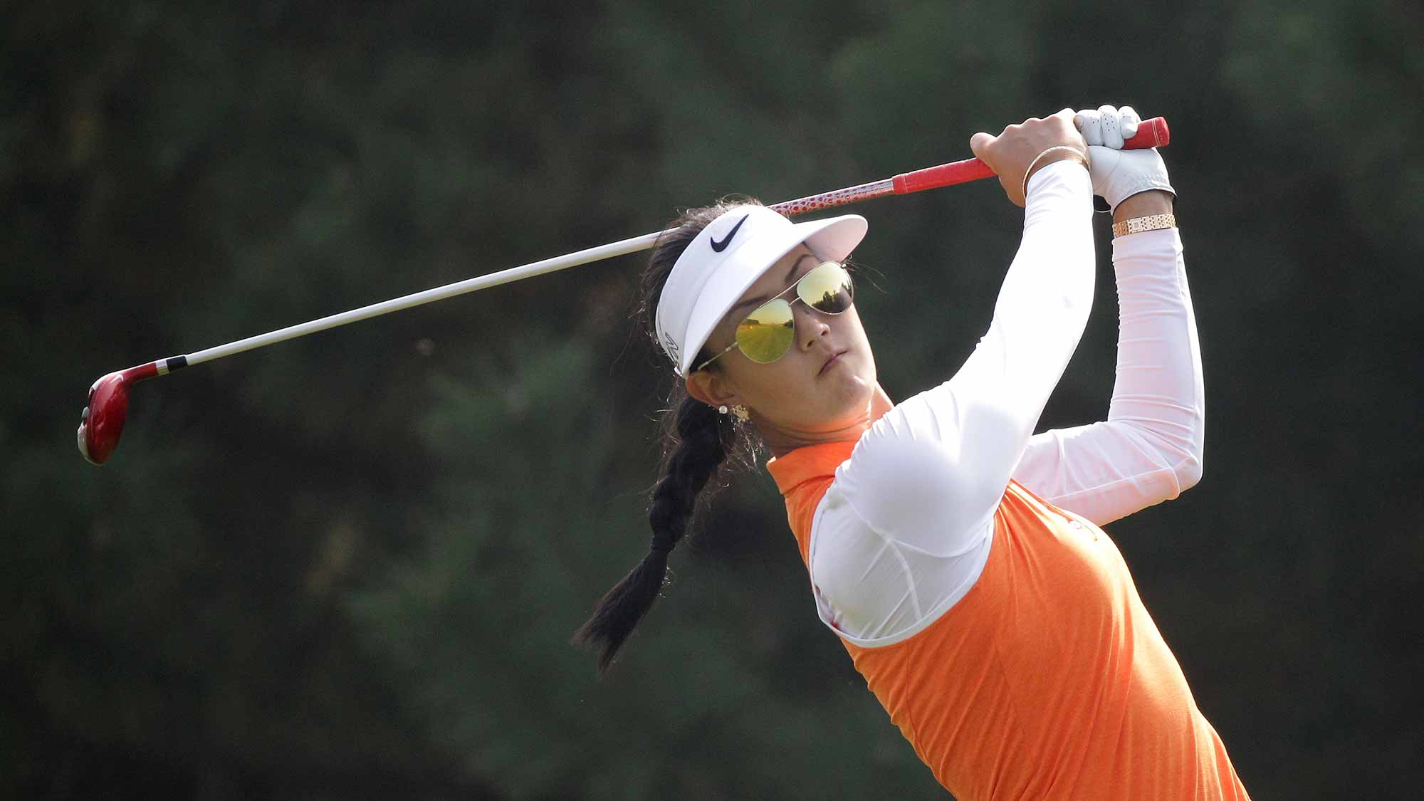 Michelle Wie of United States plays a tee shot on the 4th hole during round two of the LPGA KEB Hana Bank Championship