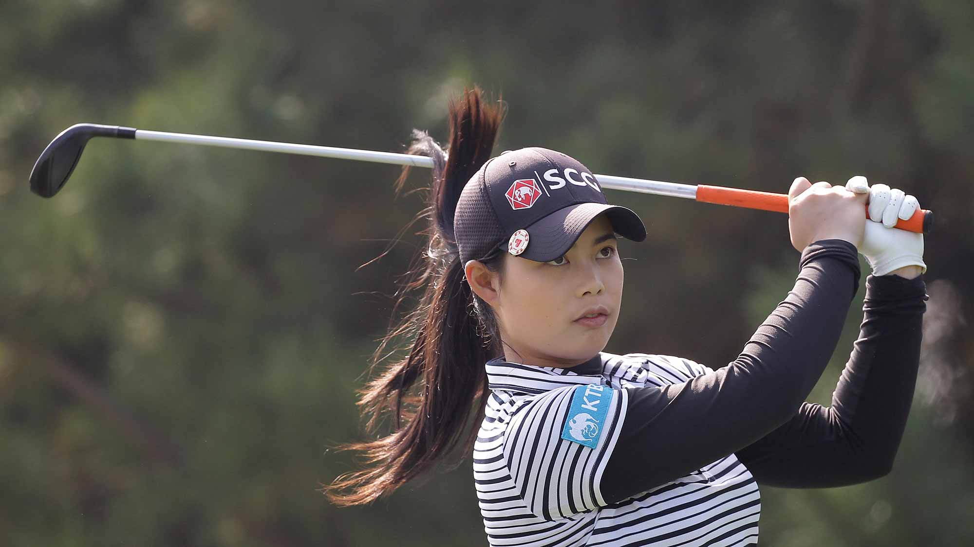 Moriya Jutanugarn of Thailand plays a tee shot on the 4th hole during round three of the LPGA KEB Hana Bank