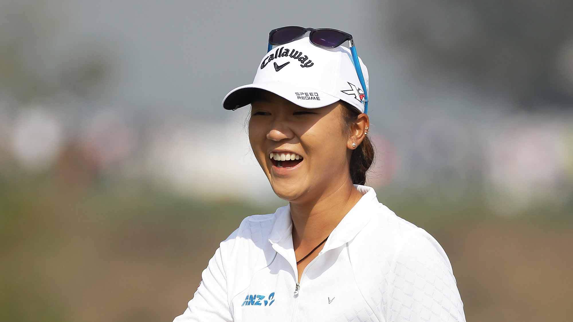 Lydia Ko of New Zealand reacts before a putt on the 6th green during round three of the LPGA KEB Hana Bank